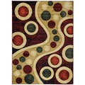 Large Hand-Carved Moderno Contemporary Abstract Multicolor Area Rug (5'3