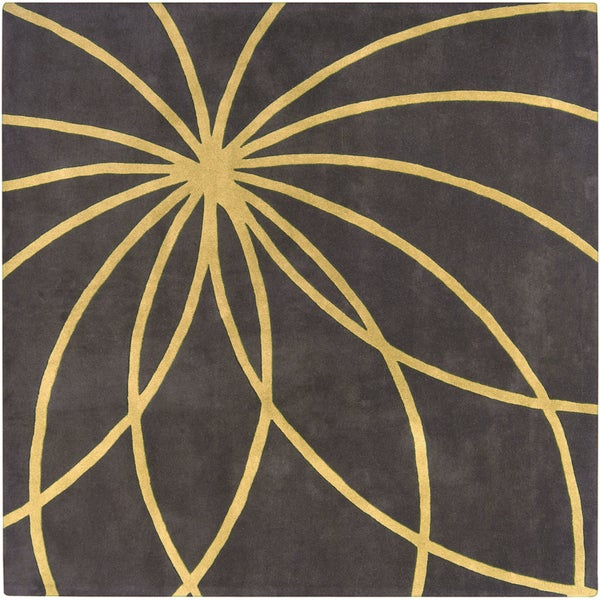 Hand-tufted Hastings Espresso Floral Wool Rug (4' x 4')