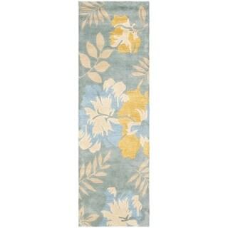 Handmade Celebrations Light Blue Grey N. Z. Wool Rug (2'6 x 6')