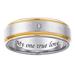 Two-tone Titanium Men's Diamond Accent 'My one true love' Engraved Ring