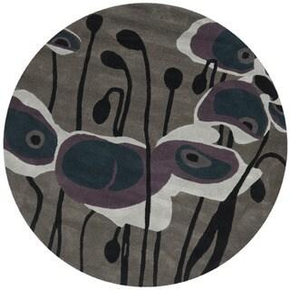 Safavieh Handmade Elegance Grey/ Blue New Zealand Wool Rug (6' Round)