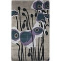 Handmade Elegance Grey/ Blue New Zealand Wool Rug (6' Square)