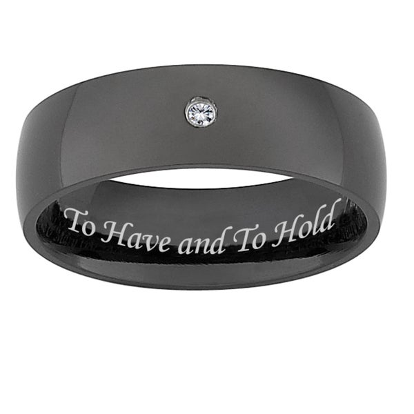 Black Titanium Men's Diamond Accent 'To Have and To Hold' Band (J-K, I3)