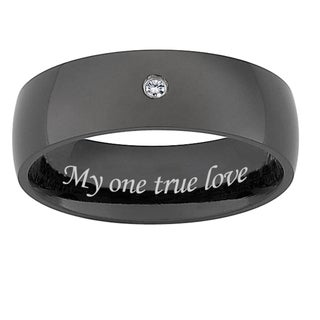 Black Titanium Mens's Diamond Accent 'My one true love' Band