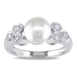 Miadora 14k White Gold Cultured Freshwater Pearl and 1/10ct TDW Diamond Ring (J-K, I2-I3)