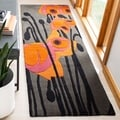Handmade Elegance Grey/ Orange New Zealand Wool Rug (2'6 x 6')
