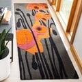 Safavieh Handmade Elegance Grey/ Orange New Zealand Wool Rug (2'6 x 6')