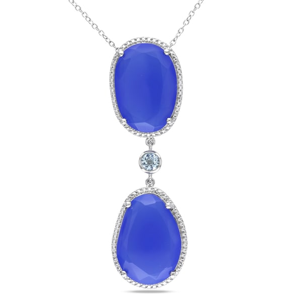 Miadora Sterling Silver Blue Topaz and Blue Chalcedony Necklace