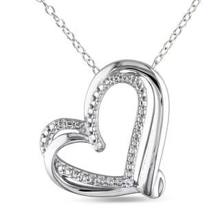 M by Miadora Sterling Silver Diamond Heart Necklace