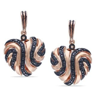 Haylee Jewels Rose Plated Silver 1/5ct TDW Black Diamond Heart Earrings