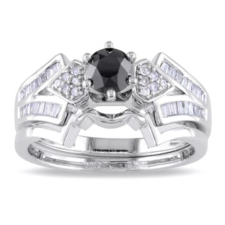Miadora 14k White Gold 3/4ct TDW Black Diamond Bridal Ring Set (H-I, I2-I3)
