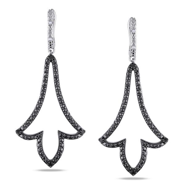 Haylee Jewels Sterling Silver 1/10ct TDW Black Diamond Earrings (H-I, I2-I3)