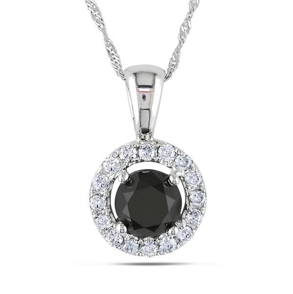 Miadora 18k White Gold 1 7/8ct TDW Black and White Diamond Necklace (G-H, SI1-SI2)