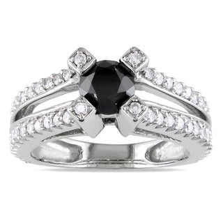 Miadora 14k White Gold 1 1/4ct TDW Black and White Diamond Ring (H-I, I1-I2)