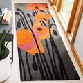 Handmade Elegance Grey/ Orange New Zealand Wool Rug (2'6 x 8')