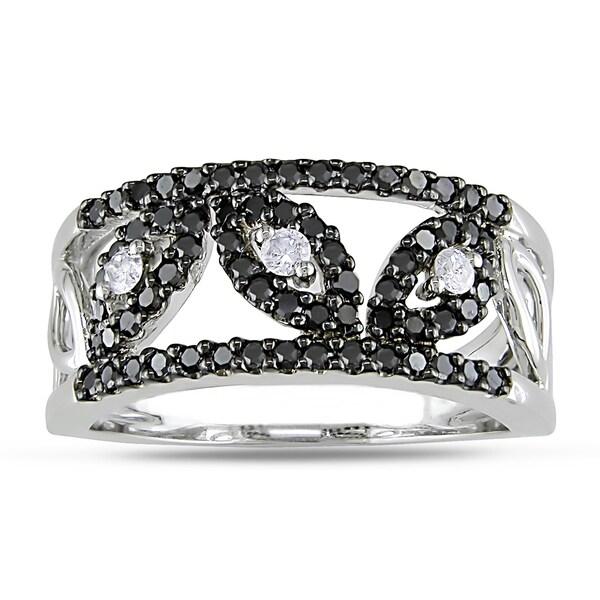 Miadora 14k White Gold 1/2ct TDW Black and White Diamond Ring (H-I, I2-I3)