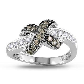 Miadora 14k White Gold 3/8ct TDW White and Brown Diamond Ring (G-H, I1-I2)