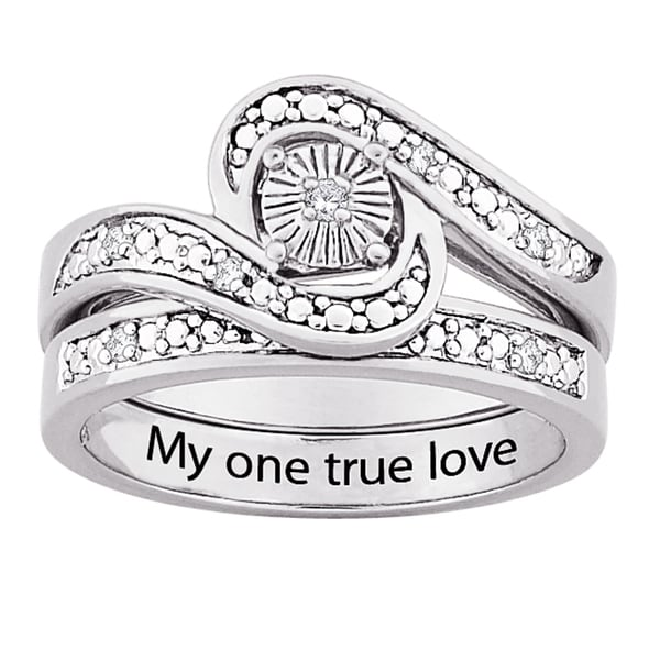 Sterling Silver Diamond Swirl 2-Piece Engraved 'My One True Love' Bridal Ring Set (J-K, I3)