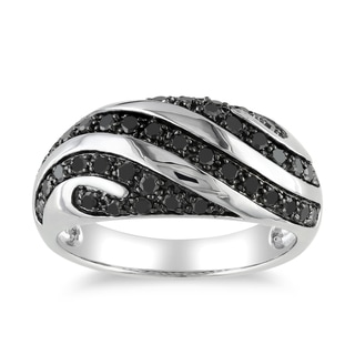 Miadora Sterling Silver 1/2Ct TDW Black Diamond Men's Ring