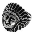 Vance Co. Men's Stainless Steel Native American w/ Headress Ring