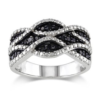 M by Miadora Sterling Silver 1/4ct TDW Black Diamond Ring with Bonus Earrings