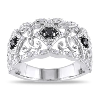 Haylee Jewels Sterling Silver 1/4ct TDW Black and White Diamond Ring (H-I, I2-I3)