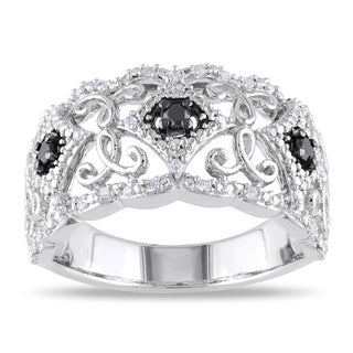 M by Miadora Sterling Silver 1/4ct TDW Black and White Diamond Ring (H-I, I2-I3)