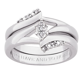 Silver Diamond 2-pc Engraved 'To Have and To Hold' Bridal Ring Set (J-K, I3)