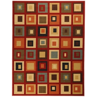 Printed Ottohome Contemporary Boxes Burgundy Runner Rug (5' x 6'6)