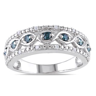 Haylee Jewels Sterling Silver 1/4ct TDW Blue and White Diamond Ring (H-I, I2-I3)