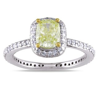 Miadora 14k Gold 1 1/3ct TDW Cushion Cut Yellow and White Diamond Ring (G-H, SI1-SI2)