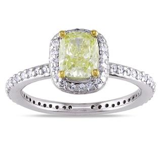 Miadora 14k White Gold 1 1/3ct TDW Yellow Diamond Ring (G-H, SI1-SI2)