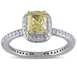 SHIRA 14k White Gold 1 1/3ct TDW Yellow Diamond Ring (G-H, SI1-SI2)