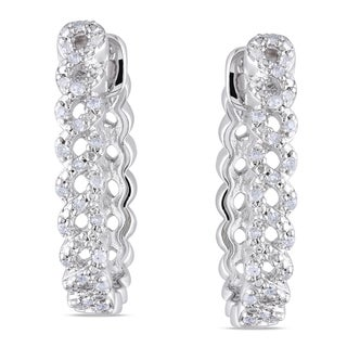 Miadora Sterling Silver 1/4ct TDW Diamond Hoop Earrings (H-I, I2-I3)