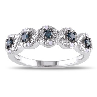 Haylee Jewels Sterling Silver 1/4ct TDW Round-cut Blue and White Diamond Ring (H-I, I2-I3)