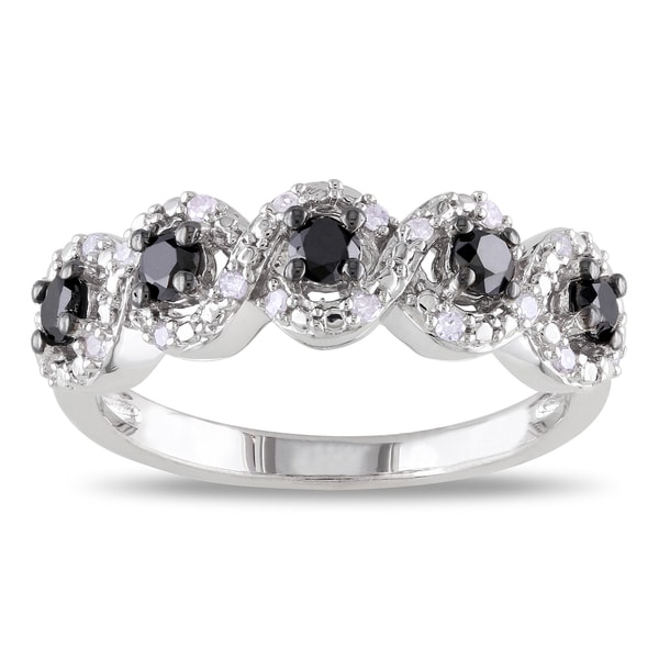 Haylee Jewels Sterling Silver 1/2ct TDW Black and White Diamond Ring (H-I, I2-I3)