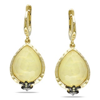 Miadora Yellow and Black Plated Silver Gemstone Dangle Earrings