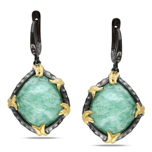 Miadora Sterling Silver and 12k Gold Green Aventurine Earrings