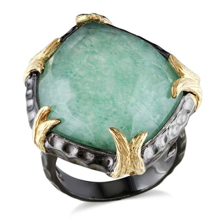 Miadora Sterling Silver Green Aventurine Ring