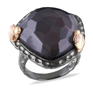 Miadora Black Rhodium Plated Sterling Silver Gemstone Cocktail Ring