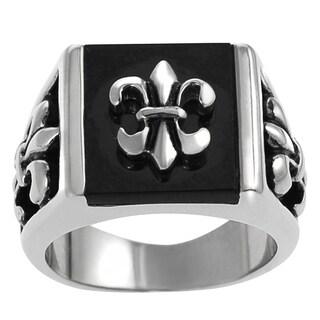 Vance Co. Men's Stainless Steel Black Acrylic Fleur de Lis Ring