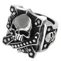 Vance Co. Men's Stainless Steel Skull Biker Ring
