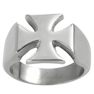 Vance Co. Men's Stainless Steel Iron Cross Ring