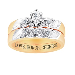 18k Gold over Sterling 2-Pc Diamond Engraved 'Love, Honor, Cherish' Bridal Set
