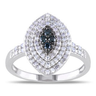 Miadora Sterling Silver 1/2ct TDW Blue and White Diamond Ring (H-I, I2-I3)