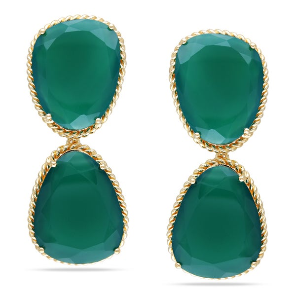 Miadora Yellow Rhodium Plated Silver Green Onyx Dangle Earrings