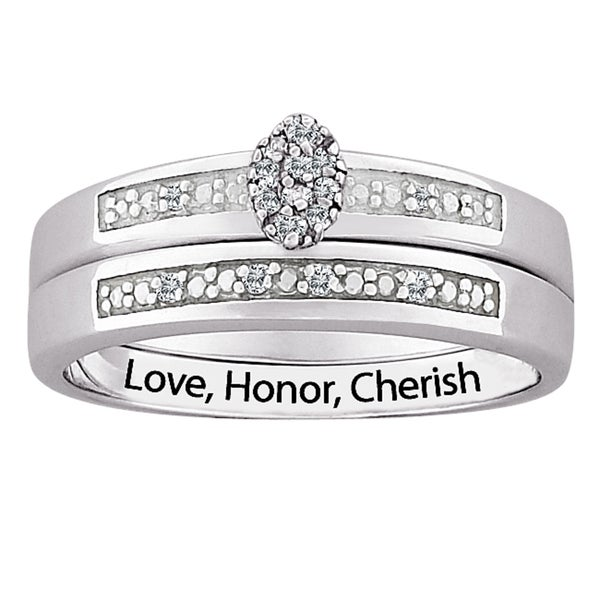 Silver Diamond 2-Piece Engraved 'Love, Honor, Cherish' Bridal Set (J-K, I3)