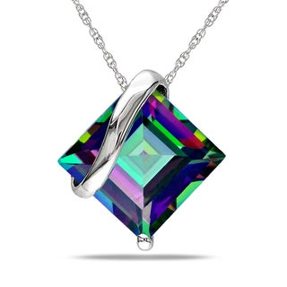 Miadora 10k White Gold Exotic Green Topaz Necklace
