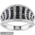 Miadora Sterling Silver 1/2ct TDW Black or Blue Diamond Ring