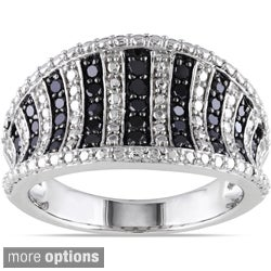 Haylee Jewels Sterling Silver 1/2ct TDW Black or Blue Diamond Ring